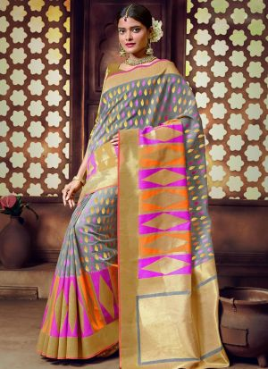 Handloom Cotton Grey Latest Wedding Saree Collections