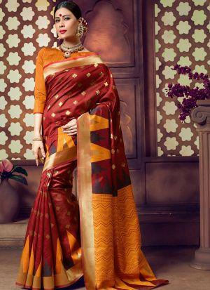 Handloom Cotton Maroon Party Wear Saree Collection