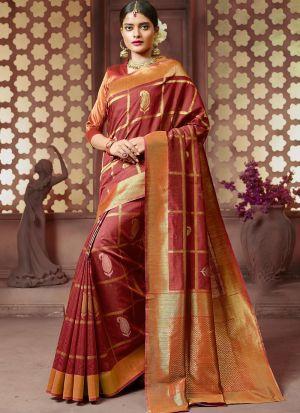 Handloom Cotton Maroon Traditional Designer Saree Collection