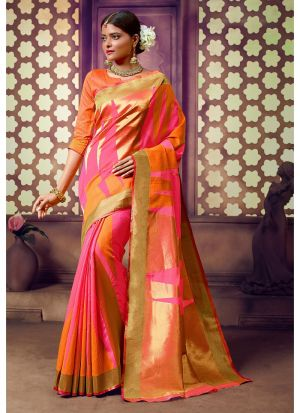 Handloom Cotton Multi Color Indian Saree Collection