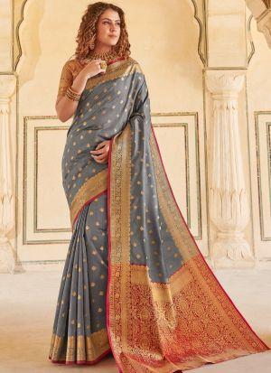 Handloom Silk Grey Indian Wear Saree