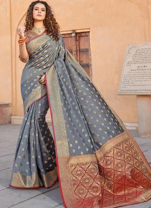 Handloom Silk Grey South Indian Saree