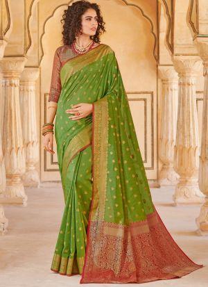 Handloom Silk Parrot South Indian Saree