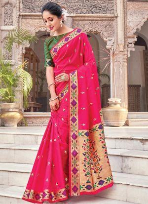 Handloom Woven Pure Silk Pink Saree