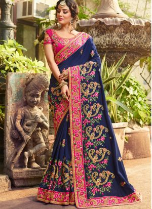 Heavily Designed Rangoli Silk Pink Half And Half Saree