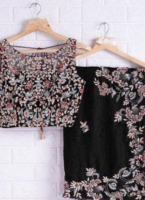 Heavy Embroidered Black Organza Silk Saree