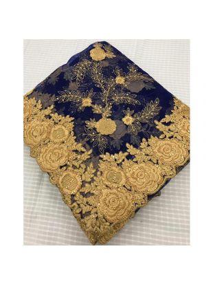 Heavy Embroidery Ceramic Stone Work Navy Net Saree