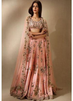 Heavy Embroidery Designer Lehenga Choli In Orange Color