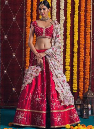 Heavy Embroidery Designer Lehenga Choli In Pink Color
