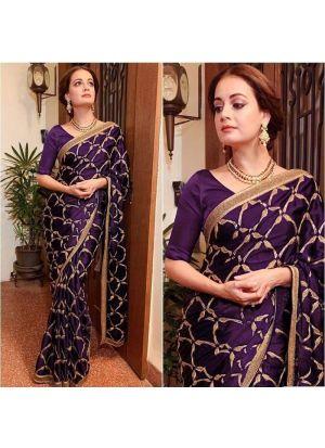Heavy Embroidery Wine Vichitra Silk Saree
