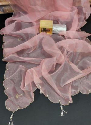 Heavy Pure Organza Dusty Pink Saree