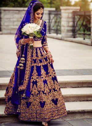 Higly Demanded Royal Blue Pure Velvet Embroidered Bridal Lehenga Choli With Mono Net Dupatta