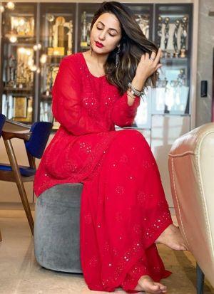 Hina Khan Red Georgette Sharara Suit