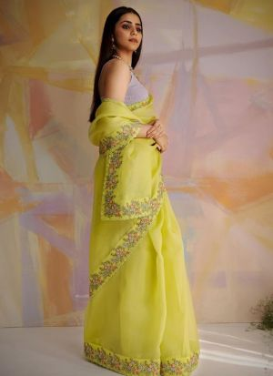 Impressive Multi Work Lemon Yellow Saree