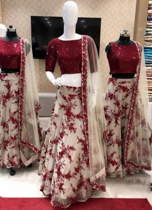 Impressive Red Color Net Sequence Work Lehenga Choli