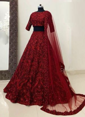 Impressive Red Taffeta Silk Lehenga Choli