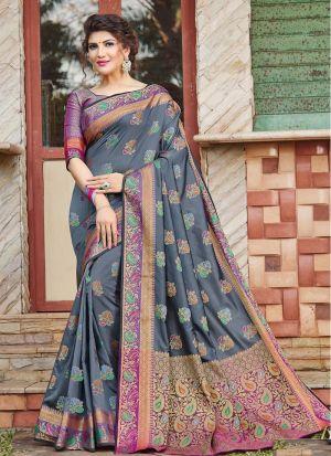Impressive Wedding Wear Grey Thread Work Saree