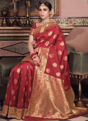 Impressive Wedding Wear Maroon Zari Work Saree