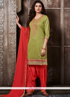 Indian Designer Partywear Patiala Salwar Suit In Mehandi Color