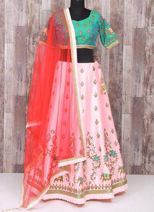 Indian Festive Wear Blush Pink Embroidered Traditional Lehenga Choli