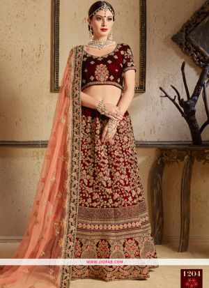 Indian Festive Wear Maroon Pure Velvet Designer Bridal Lehenga Choli