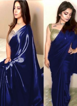 Indian Festive Wear Navy Sequence Saree