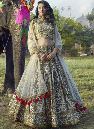 Indian Festive Wear Peach Color Copper Metallic Foil Designer Lehenga Choli