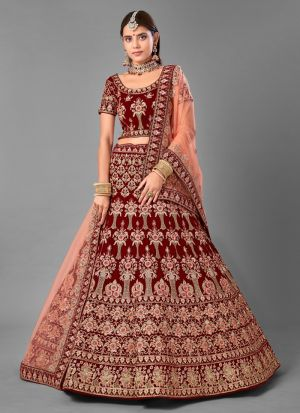 Indian Style Maroon Velvet Lehenga