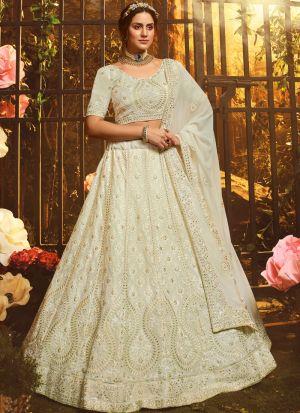 Indian Wear White Georgette Lehenga Choli With Gota Work