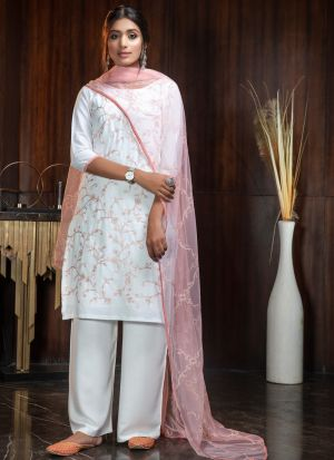 Indian Wear White Palazzo Suit With Pink Net Dupatta