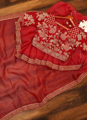 Indian Wedding Style Red Sparkle Silk Thread Work Saree