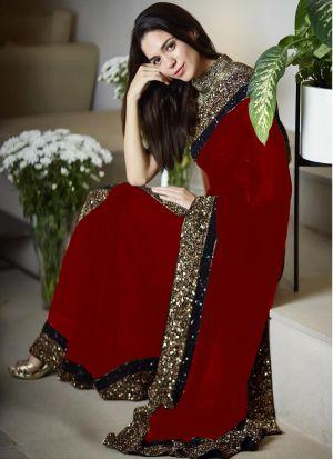 Indian Women 60 Gm Georgette Designer Saree In Maroon Colour