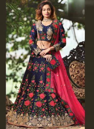 Indian Women Banglori Satin Silk Thread Work Designer Lehenga In Navy Colour