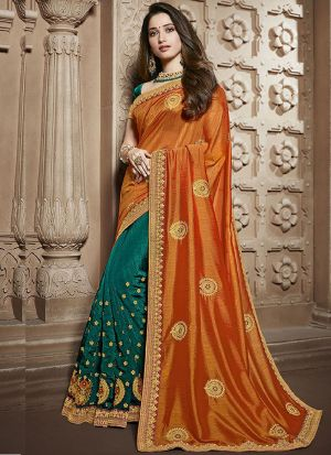 Innovative Aqua Green And Orange Rangoli Silk Saree