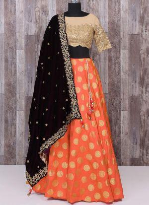 Jacquard Designer Lehenga Choli In Orange Color