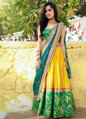 Jannat Zubair Parrot Green Silk Lehenga
