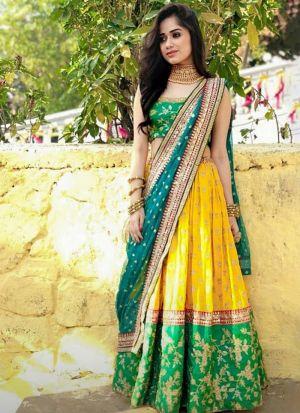 Jannat Zubair Yellow Silk Lehenga Choli