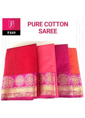 Jaquard Zari Border Indian Pure Cotton Saree With Chit Pallu