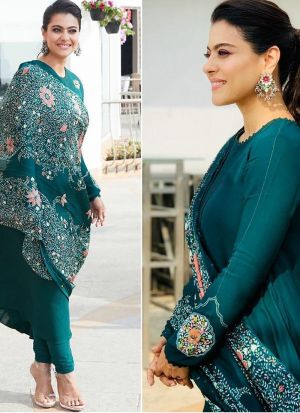 Kajol Style Turquoise Green Digital Printed Salwar Suit