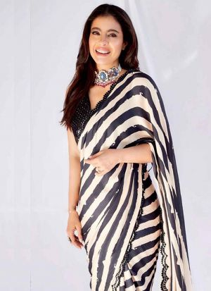 Kajol Stylish Black Georgette Digital Printed Saree