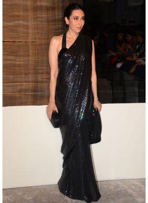 Karishma Kapoor Black Color Bollywood Designer Saree