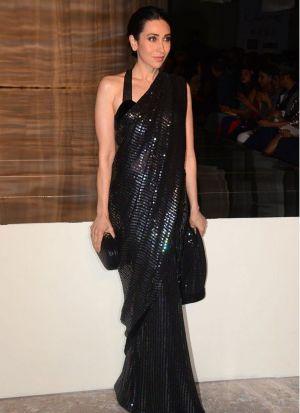 Karisma Kapoor Black Georgette Saree