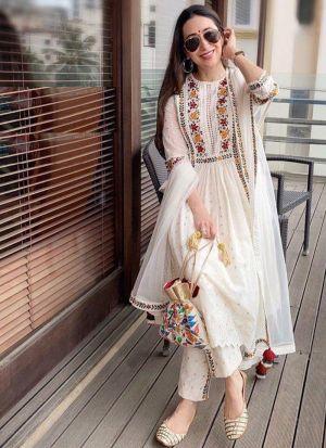 Karisma Kapoor White Georgette Suit