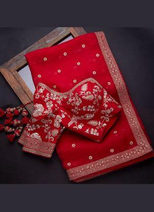 Khadi Organza Silk Red Sequence Saree