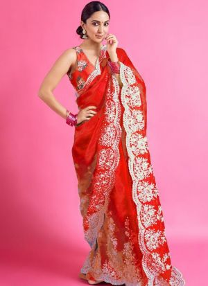 Kiara Advani Orange Embroidery Saree