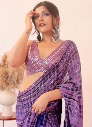 Kritika Khurana Light Purple Georgette Saree