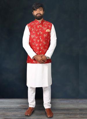 Kurta Pajama With Red Jacquard Print Koti