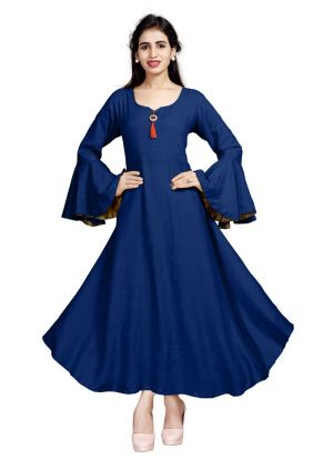 Ladies Flavor New Arrival Pure Heavy Rayon Blue Kurti