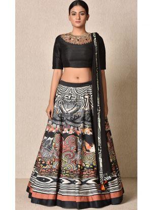 Latest Arrival Black Digital Printed Designer Lehenga Choli