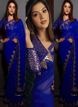 Latest Arrival Blue Fancy Sequence Work Saree